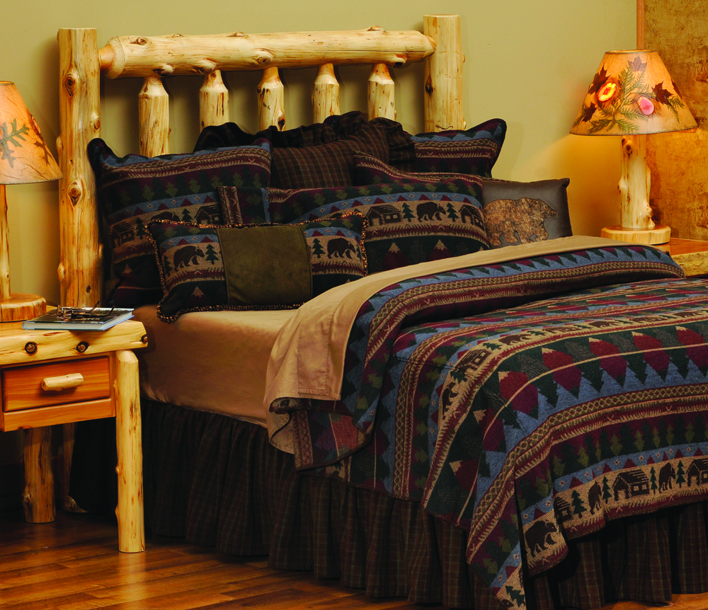 Wooded River Cabin Bear Rustic Bedding Collection